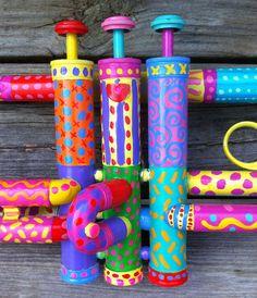 Rainbow Painted Trumpet by BeesCuriosityShoppe on Etsy, $265.00