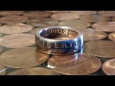 This video shows the first step of making a coin ring; making the hole. You can also check out my website. www.changeyoucanwear.net