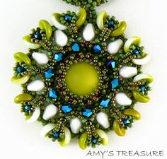 """""""Amy's Treasure"""" necklace.  I like the colors on this, and I didn't know what to make of the new """"Piggy"""" bead shape at first, but it's grown on me"""