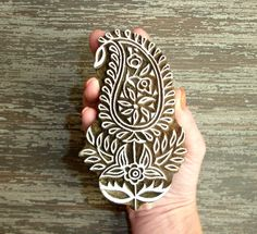 Large Paisley Stamp, Handmade Flower Stamp, Indian Printing Block, Hand Carved Wood Block Stamp, Wooden Textile Clay Ceramic Stamp, India, by DelhiDaze, $20.00