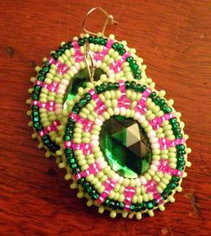 But I'd do post backs.....  Native American Beaded Oval Earrings in Green and Pink