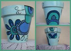 Macetas Pintadas Para Vos - Macetas - Casa - 122386 Painted Clay Pots, Painted Flower Pots, Painted Jars, Hand Painted Ceramics, Ceramic Pots, Terracotta Pots, Pottery Painting, Ceramic Painting, Clay Pot People