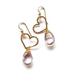 Gold Heart Earrings Pink Amethyst Hammered by HanaMauiCreations, $45.00