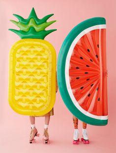 fruit floats = FUN have a vintage kitsch summer kids lilo frolics