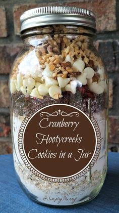 Cranberry Hootycreeks Cookies in a Jar. While I have no idea where the name came from, the kids sure like asking for HootyCreek cookies!