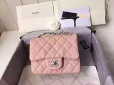 Chanel Baby Pink Caviar Mini Square Classic Flap Chain Shoulder Bag for sale at https://www.ccbellavita.eu/products/chanel-pink-lamb-skin-mini-square-classic-flap-chain-shoulder-bag