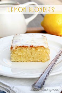 Lemon Blondies with Lemon Glaze - I made these for our family dinner on Sunday. I served them while still warm and they were AMAZING! I can't wait to try them with fresh lemons from our tree when they get ripe!