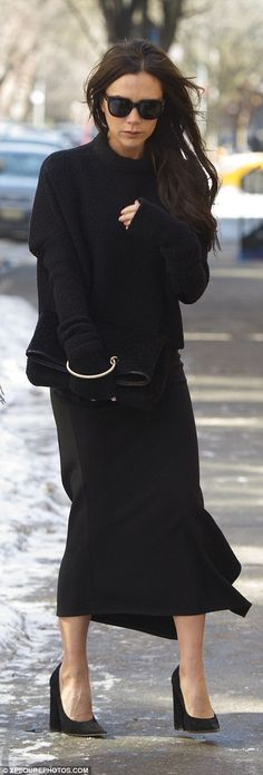 Putting her best foot forward: Victoria opted to go bare-legged in the snowy Big Apple...
