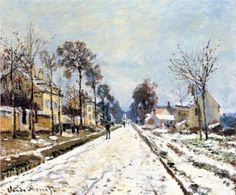 Snow Effect, The Road to Louveciennes - Claude Monet
