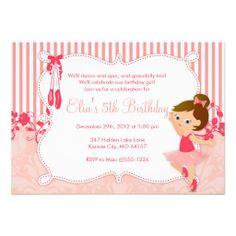 $2.05 Little Ballerina birthday Invitations - version 4