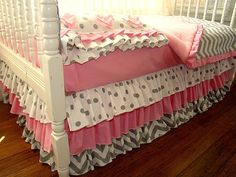Pink and Grey Chevron Toddler Crib Bedding 3 by IronAndThread, $225.00