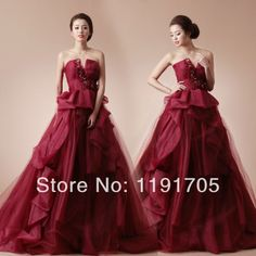 Free shipping V-neck Flowered Red Organza Prom dress 2014 Ball Gown Floor Length Court Train Bridal Gowns 2014 New Arrival $192.00