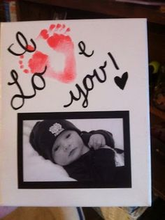 "Grandparent gifts.  I absolutely adore!! ""I love you!"" & photo. ""v"" is babies feet print."