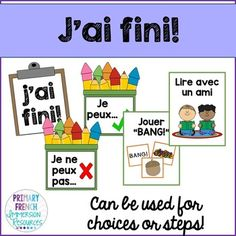 """French classroom management for early finishers."""" Help your students to be independent as they move through their work, their catch up work, and into different centre choices! French Classroom, English Classroom, Primary Classroom, Classroom Ideas, Classroom Organisation, Classroom Management, Organization Ideas, Teaching French Immersion, Spanish Teaching Resources"""