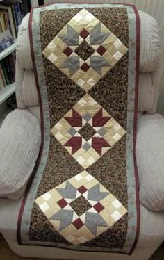 Wine-Sage and Paisley Reversible Patchwork table runner