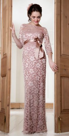 Beautiful color-Amelia Lace Maternity Dress Long (Vintage Rose) by Tiffany Rose
