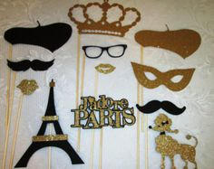 Paris Party Photo Booth Props-Black and Gold, Great for Mustache Party, Bridal Shower, Wedding Shower, Baby Shower, Parisian Party