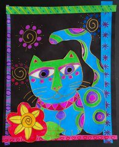 Laurel Burch expressive and non representational animal art Laurel Burch, Art Lessons For Kids, Art Lessons Elementary, 2nd Grade Art, Artist Project, You Draw, Art Lesson Plans, Art Classroom, Art Plastique