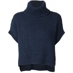 Jeffrey Dodd Ribbed Roll Neck Cropped Top (2,295 CAD) ❤ liked on Polyvore featuring tops, sweaters, blue, rib sweater, blue sweater, blue crop top, ribbed sweater and blue top