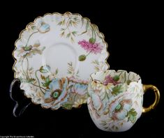 Aynsley Very Rare coffee cup saucer with gilded rims decorated with poppies carnations 1890 - The Struan House Collection