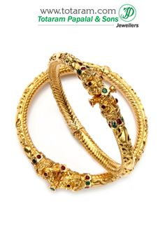 22K Fine Gold Kada with Ruby & Emerald - Set of 2 (1 Pair). - GK384 - Indian Jewelry from Totaram Jewelers
