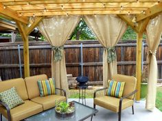 Outdoor burlap curtains for pergola