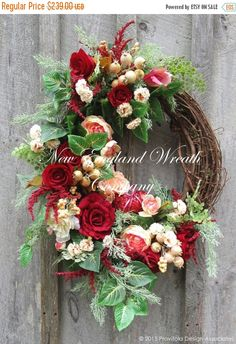 ON SALE, Valentine Wreath, Heart Wreath, Victorian Wreath, Spring Floral, Elegant Designer Wreath, Country French Wreath, Romantic Wedding D