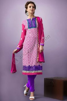 Pink and White Cotton Churidar Suit, Design No. DMA12561, Price- $51.56, Dress Type:	Churidar Suit, Fabric:	Cotton, Colour:	Pink with White, Embellishments:	Designed with Resham work, For More Details Visit Here @ http://www.andaazfashion.us/pink-and-white-cotton-churidar-suit-dma12561.html