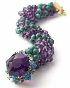 Cartier bracelet that once belonged to the Duke and Duchess of Windsor featuring amethyst, turquoise and diamonds. Exhibited by Hancocks. Cartier Armband, Cartier Diamond Bracelet, Cartier Jewelry, Wallis Simpson, Royal Jewelry, Jewelry Show, Vintage Jewelry, Fine Jewelry, Antique Jewellery