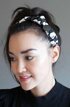 Sweet Heart Headband. Funky floral headband. Black and white headband with heart charm.   Idol Collective