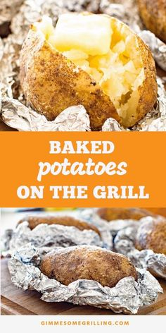 Light, fluffy baked potatoes on the grill! If you are looking for a new side dis… Light, fluffy baked potatoes on the grill! If you are looking for a new side dish recipe on your grill these Grilled Baked Potatoes… Continue Reading → Quick Baked Potato, Grilled Baked Potatoes, Cooking Baked Potatoes, Bbq Potatoes, Baked Potato On Grill, Potatoes On The Grill, Grilled Potato Recipes, Quick Potato Recipes, Grilled Food