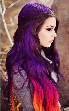 Beauty/Hair Ideas Trendy Haar Pastell Regenbogen Lila What Is Your Hair Type? Hair Color Purple, Hair Dye Colors, Cool Hair Color, Pink Purple, Color Red, Blue And Red Hair, Deep Purple Hair, Funky Hair Colors, Creative Hair Color