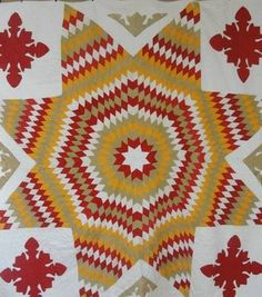 Antique 19th c Blazing or Texas Star Quilt ~ Turkey Red, Cheddar, Fugitive Green GREAT COLOR! Vintageblessings
