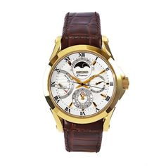 Seiko Men's SRX004 Premier Brown Leather Strap White Dial Watch >>> To view further for this item, visit the image link.