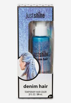 Just Shine Denim Hair Color balance board Tween Girl Beauty Products - Hair, Body, & Makeup Justice Makeup, Denim Hair, Justice Accessories, Temporary Hair Color, Shop Justice, Kids Makeup, Justice Clothing, Tween Fashion, Summer Baby