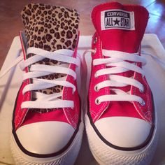 Changed the tongue on my converse with leopard fabric.