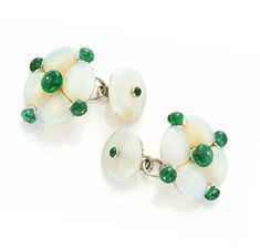 A Pair of Opal and Emerald Cufflinks, by Bhagat. Via FD Gallery, www.fd-inspired.com