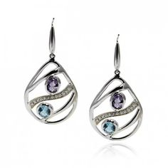 Open work Tear drop Earring with Amethyst and Blue Topaz