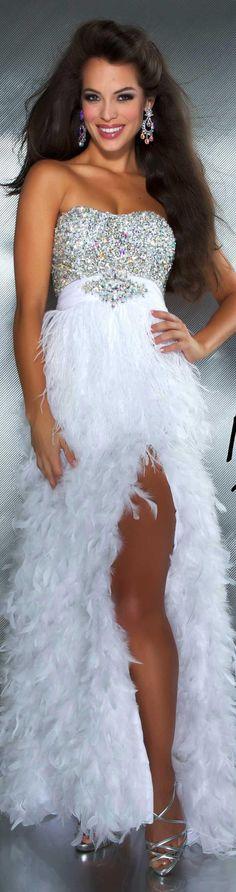 Mac Duggal couture dress white MAC DUGGAL PROM STYLE 61201M