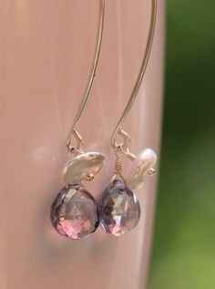 Leaf Earrings - Sterling Silver with Blue Quartz and Keishi Pearls - Large, by PrincessTingTing, $28.00