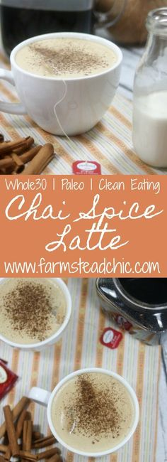 This Paleo and Chai Spice Latte combines all the flavors of chai tea with freshly brewed coffee and creamy coconut milk. (cooking with kids paleo) Tea Recipes, Whole 30 Recipes, Coffee Recipes, Whole Food Recipes, Paleo Recipes, Drink Recipes, Paleo Meals, Paleo Coffee, Ketogenic Recipes