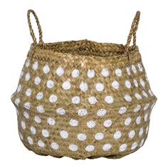 Bungalow Rose Imalta Seagrass Basket with Dots