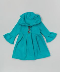 Take a look at the Teal Peacoat - Toddler & Girls on #zulily today!