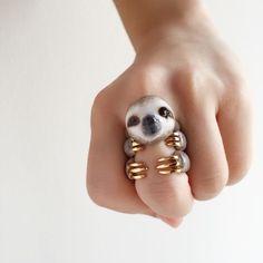 Grey Sloth 3 Piece Ring Set - Enamel ring, Animals Ring, Animals Jewelry, Enamel Brass Jewelry, Trio Ring, Animal, Gift, Cute, Mary Lou