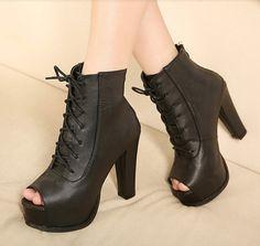 Black Lace Up Peep Toe Boots