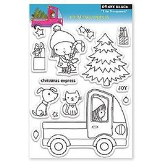 PENNY-BLACK-RUBBER-STAMPS-CLEAR-MIMI-CHRISTMAS-EXPRESS-14-HOLIDAY-STAMP-SET