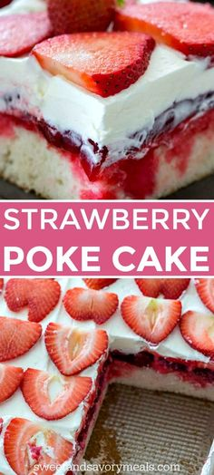 Strawberry Poke Cake is made with white cake soaked with a mixture of white chocolate strawberry sauce topped with strawberry pie filling and creamy whipped cream pokecake strawberry cakerecipes dessertrecipes easyrecipe sweetandsavorymeals Strawberry Poke Cakes, Strawberry Sauce, Strawberry Recipes, Cake With Strawberry Filling, Strawberry Whipped Cream Cake, Strawberry Flan Cake Recipe, Cake With Filling, Chocolate Strawberry Shortcake Recipe, Chocolate Cake With Strawberries