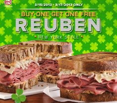ARBY'S $$ Reminder: Coupon for BOGO FREE Reuben or Double-Stacked Reuben Sandwich – Expires TODAY (3/17)!