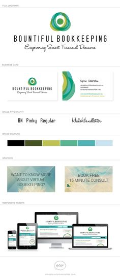Sylvia from Bountiful Bookkeeping asked us to create a fresh, modern and FUN brand for her new bookkeeping business. She wanted a logo that didn't look like the typical 'financial' or 'bookkeeping' brand but something that would appeal to the growing market of female entrepreneurs.  #branding #design #logo #webdesign