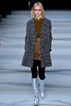 Top 5 Fall/Winter 2014 Trends From Paris, London, New York & Milan - The New - Saint Laurent Diva Fashion, 1960s Fashion, Runway Fashion, Fashion Show, Paris Fashion, Fashion 2014, Saint Laurent 2014, Mini Vestidos, 2014 Trends